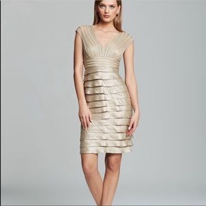 Adrianna Papell Cocktail Bridal Ruffle Dress Gold